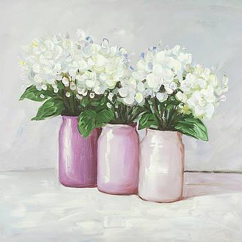 Hydrangea Flowers in Pink Vases by Atelier B Art Studio