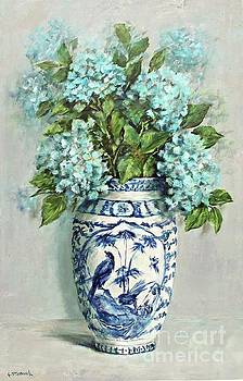 Hydrangeas in a Blue and White Vase by Gail McCormack