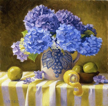 Hydrangeas in Dorchester Teapot by Kathleen Weber