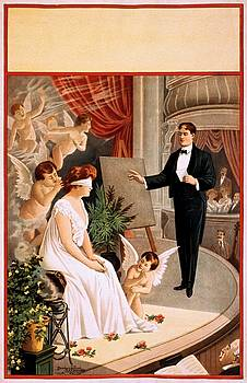 Hypnotist performance with angels. Stock poster, 1900 by Vintage Printery