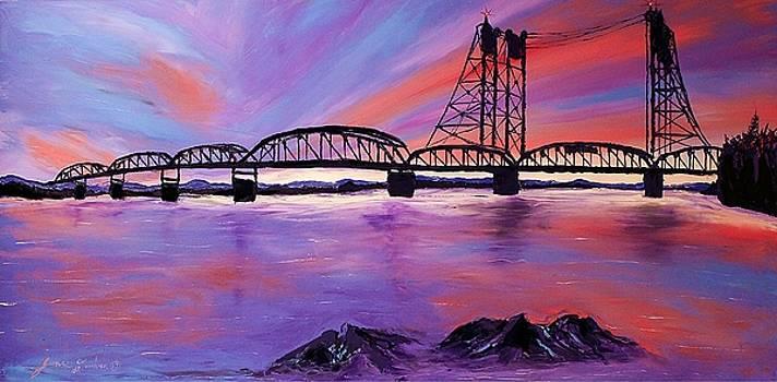 I-5 Bridge Over Wintler Park Beach #2 by Portland Art Creations