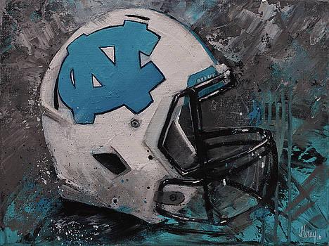 I bleed Carolina Blue Tarheel Wall Art Football Helment by Gray Artus