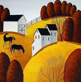 I heard something - horse folk art country landscape by Debbie Criswell