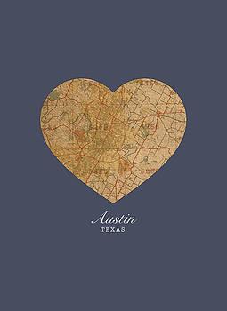 Design Turnpike - I Heart Austin Texas Vintage City Street Map Americana Series No 028