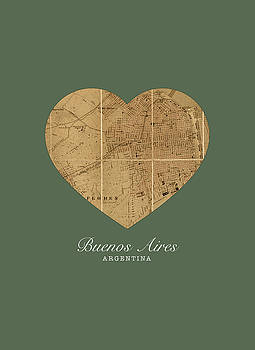 Design Turnpike - I Heart Buenos Aires Argentina Street Map Love Series No 088