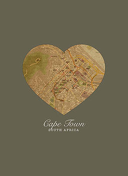 Design Turnpike - I Heart Cape Town South Africa Street Map Love Series No 090