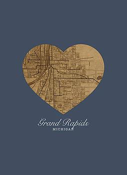 Design Turnpike - I Heart Grand Rapids Michigan Street Map Love Americana Series No 060