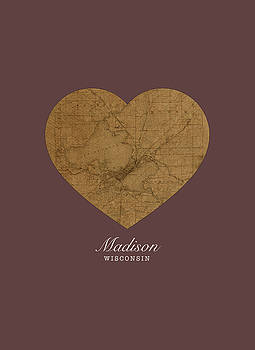 Design Turnpike - I Heart Madison Wisconsin Street Map Love Americana Series No 059