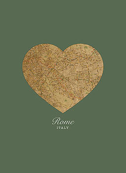 Design Turnpike - I Heart Rome Italy Street Map Love Series No 087