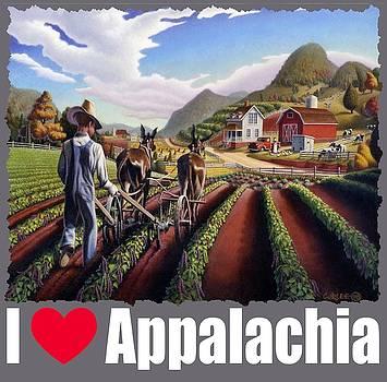 I Love Appalachia T Shirt - Farmer Cultivating Peas Landscape 2 by Walt Curlee