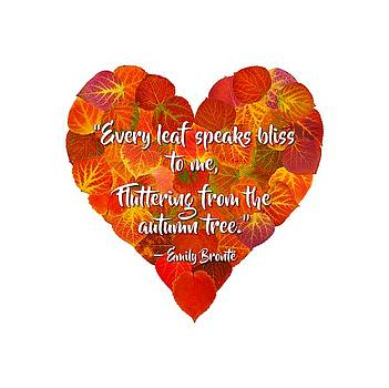 I Love Autumn Red Aspen Leaf Heart 1 Bronte Quote by Agustin Goba