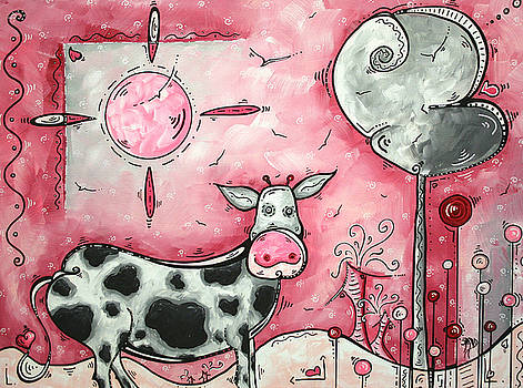 I LOVE MOO Original MADART Painting by Megan Duncanson