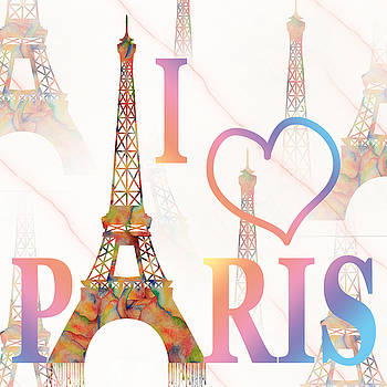 I LOVE PARIS mixed media by Georgeta Blanaru