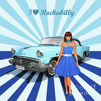 I love Rockabilly, variant 2 in blue by Monika Juengling