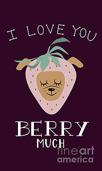 I Love You BERRY Much - Strawberry Dog Pun Illustration by NamiBear