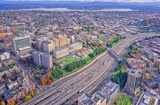 I5 Seattle Aerial View by Jason Butts
