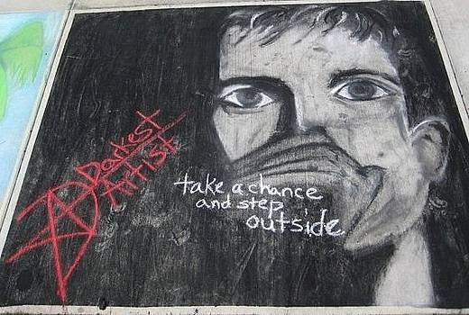 Ian Curtis in 2.5 hours of chalk by Darkest Artist