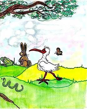 Ibis and friends listening by Carol Allen Anfinsen