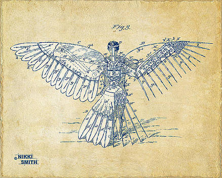 Icarus Human Flight Patent Artwork - Vintage by Nikki Smith