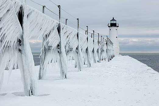 Ice on Manistee Pierhead Lighthouse-2 by Fran Riley
