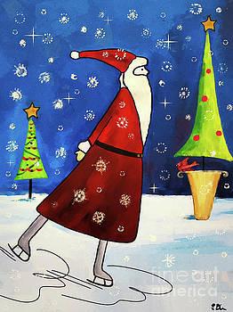 Ice Skating Santa by Tina LeCour