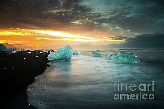 Ice Waves and Black Sand Iceland by Mike Reid