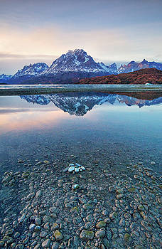 Icebergs and Mountains of Torres del Paine National Park by Phyllis Peterson