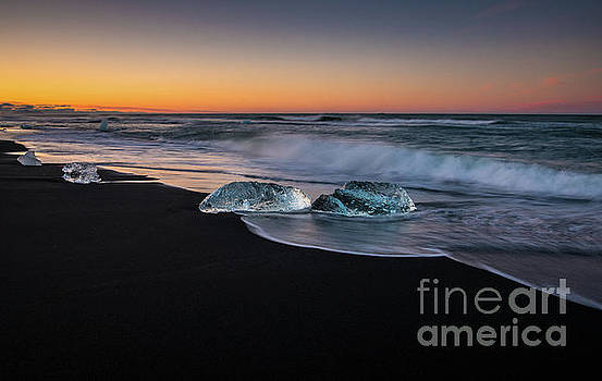 Iceland Beach Ice Catches the Light by Mike Reid