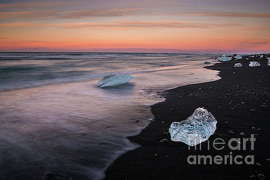 Iceland Beach Ice Sunset Motion by Mike Reid