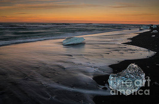 Iceland Beach Sunset Ice by Mike Reid