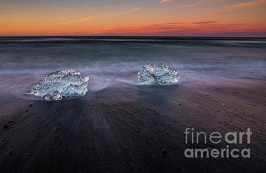 Iceland Beach Sunset Ice Movement by Mike Reid