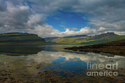 Iceland Fjord Tranquil Reflections by Mike Reid