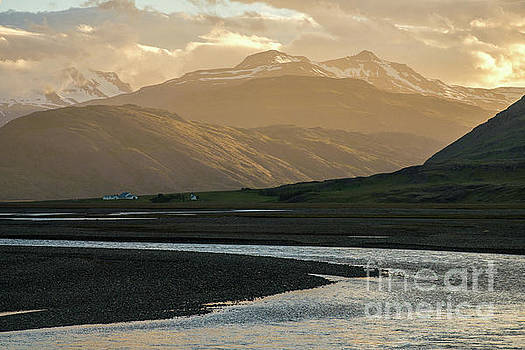 Iceland Golden Light Mountains and Water by Mike Reid
