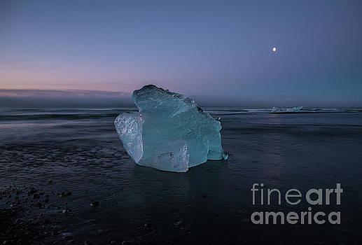 Iceland Ice Lagoon Moon by Mike Reid