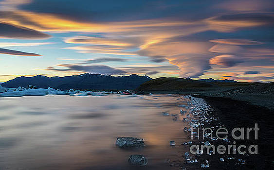 Iceland Jokulsarlon Lenticular Sunset Beach Ice by Mike Reid