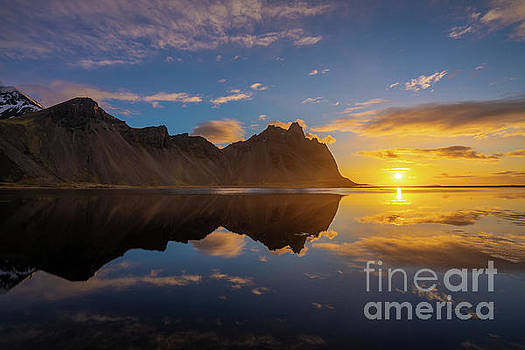 Iceland Photography Stokksnes Sunrise Cloudscape Reflection by Mike Reid
