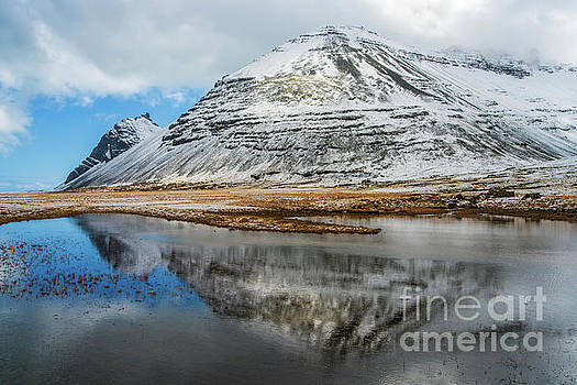 Iceland Snow Dusted Mountains Reflected by Mike Reid