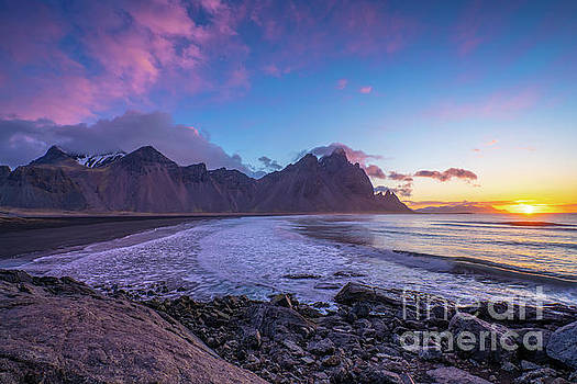Iceland Stokksnes Beach Sunrise Clouds by Mike Reid
