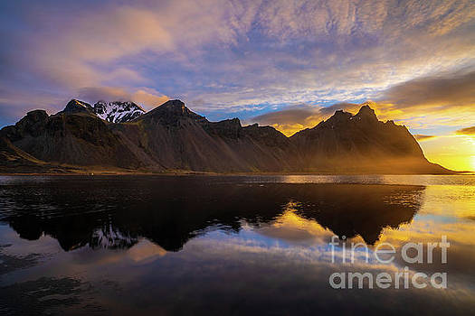 Iceland Stokksnes Golden Sunrise Radiance by Mike Reid