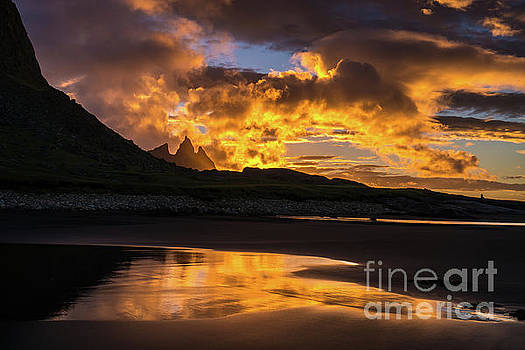 Iceland Stokksnes Sunrise Fire by Mike Reid