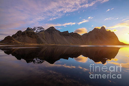 Iceland Stokksnes Sunrise Reflection by Mike Reid