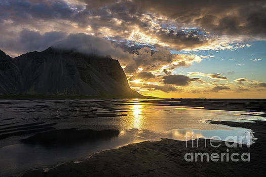 Iceland Stokksnes Sunrise Reflections by Mike Reid