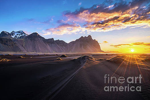 Iceland Sunrise Beach Sunrays by Mike Reid