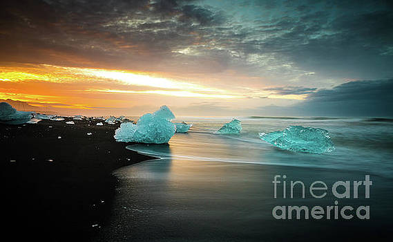 Iceland Sunrise Glacial Beach Ice by Mike Reid