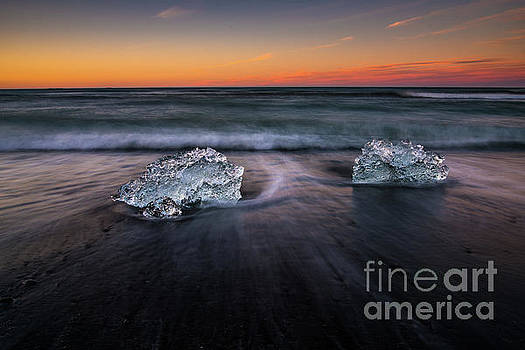 Iceland Sunset Beach Ice Duet by Mike Reid