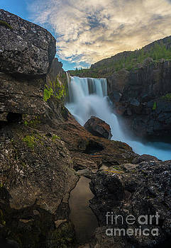 Iceland Waterfall Amongst the Rocks by Mike Reid