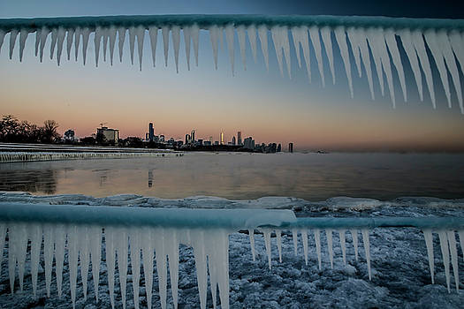 Icicles and Chicago Skyline by Sven Brogren