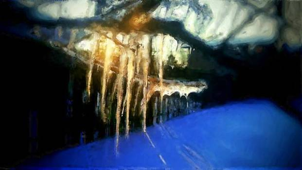 Icicles dropping water in winter with sun shining through by MendyZ