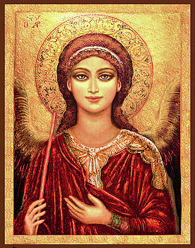 Icon Archangel in Red  by Ananda Vdovic