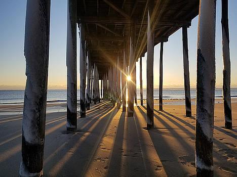 Icy Pilings At Sunrise by Robert Banach